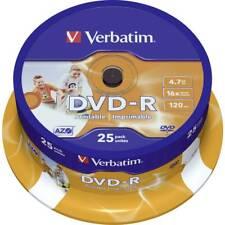 DVD-R Verbatim Wide Inkjet Printable ID Brand 4.7GB 16x Spindle DVD -R 43538