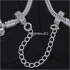 Sterling Silver Rubber European Charm Bracelet Stopper Safety Chain #51821