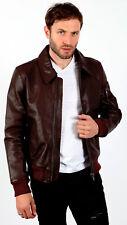 Men's Burgundy A2 Analine Hide Bomber Jacket