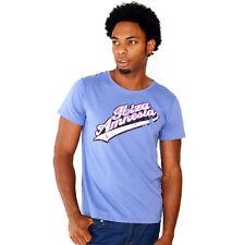 AMNESIA IBIZA Ufficiale Da Uomo T-shirt Blu Vintage con Logo Club Merch RRP £ 40