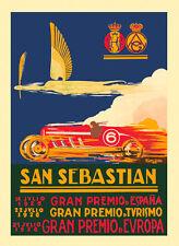 1026 San Sebastian Spain Car Race Grand Prix Europe Vintage Poster Repo FREE SH