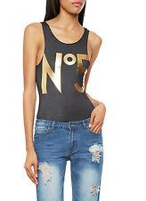 HAUTE COUTURE Juniors Women Sleeveless Bodysuit w/ Gold Foil 5 Graphic S M L XL