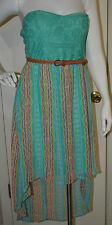 Women's Rue 21 Sea Green Geo Stripe Lace Strapless Dress Juniors Sizes L, XL