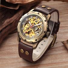 SHENHUA Men's Skeleton Self Winding Mechanical Wrist Watch Steel Leather Strap