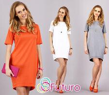 Womens Elegant & Classic Dress Short Sleeve Crew Neck Tunic Sizes 8-14 FA287