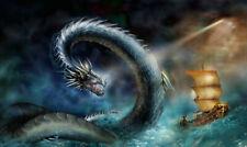 Art Wall Decor Artwork Fantasy Sea Dragon Sailboat Oil Painting Prints On Canvas