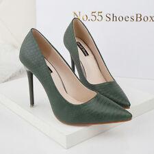 zapatos de salón mujer 10 ante tacón de aguja elegantes verde como piel 9658 YJHjv