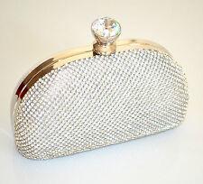3111642557 POCHETTE CRISTALLI donna ARGENTO borsello strass borsa CERIMONIA clutch bag  300A