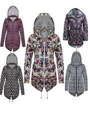 NEW LADIES WOMEN LONG SLEEVES DETACHABLE HOOD FLORAL PRINT RAIN COAT JACKET 8-24