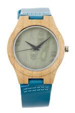 Reloj de Madera resistente con mecanismo Citizen pulsera de cuero y pilas Sony