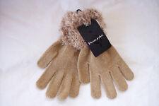 Preston & York Tan chenille fancy cuff  winter gloves o/s nwt
