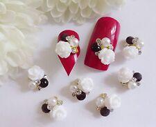 3d Nail Art Boda Ruby Gema Plata Diamante Rhinestone flor blanca de aleación de metal