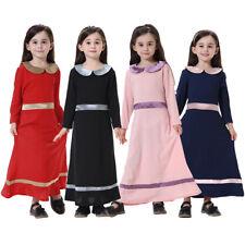 Girls Muslim Longsleeve  Maxi Dress Arab Cute Kaftan Islamic Abaya Long Robe