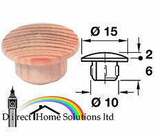 2 X LEGNO MASSELLO COPERTURA TAPPO per 10 mm Foro premere adatta in Pino Faggio Rovere Cenere Maple