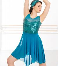 ccfa10821e8d In Stock Teal Feature Tank Top Sequin Short Lyrical Contemporary Dress Dance