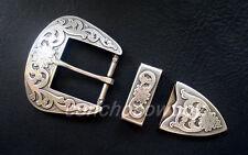 """WESTERN COWBOY ANTIQUE FLORAL ENGRAVED BELT BUCKLE SET fits 1-1/2"""" wide belt"""
