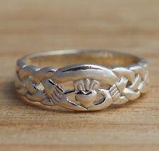 925 argento Sterling irlandese CELTICA CLADDAGH Band Anello I-T Taglie celtica gioielli