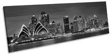 Sydney Opra House City Skyline B&W CANVAS WALL ART Pano Framed Print