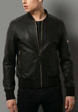Vintage Arts New Men Black Leather Jacket Bomber Flight Pure Lambskin All Sizes