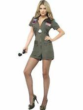 Top Gun Womens 80s Maverick Playsuit Costume and Aviator Sunglasses Fancy Dress