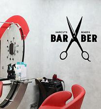 Wall Vinyl Decal Hair Salon Moustache Haircut Scissors Barbershop Decor z4742