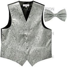 New Vesuvio Napoli Men's paisley formal Tuxedo Vest Waistcoat_Bowtie Silver