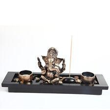 Ganesha Elephant Head Ornament Statue Candle Holders Gift Set HY1418