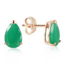 Genuine Emeralds Pear Cut Gemstones Studs 14K. Yellow, White, Rose Gold Earrings