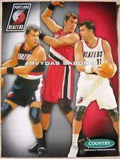 ARVYDAS SABONIS 2003 POSTER Game Handout Portland Blazers Trailblazers