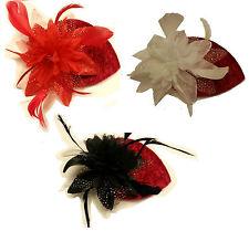 Vintage 40s 50s Hat Red Velvet Teardrop Hat Feather fascinator Red/Ivory/ Black
