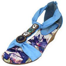 New women's shoes low heel summer back zipper gladiator wedge sandals blue