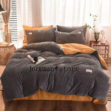 2020  Bedding Set Warm Crystal Velvet Duvet Cover Set Stripe Fleece Quilt Cover