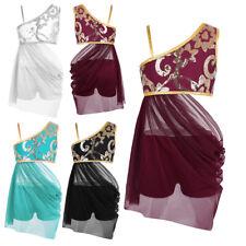 Lyrical Dress Dance Costumes Floral Sequins Side Waist Open Drap Skirt for Girls