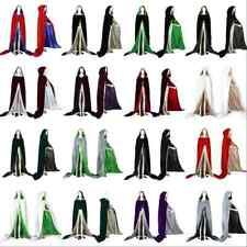 New Stock Halloween Velvet Hooded Cloak Wedding Cape Wicca SCA S M L XL XXL