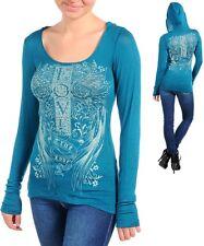 Womens Hoodie top blouse graphic rhinestone embellished  S M L XL 2XL 3XL cross