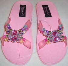 Girls Grandco Sandals Dressy Beach Pool Slide Bling Pink Beaded Girls Flip Flops