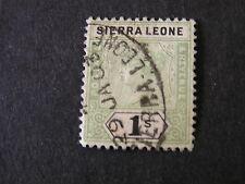 *SIERRA LEONE, SCOTT # 43. 1/- VALUE GREEN & BLACK 189-97 QV ISSUE USED