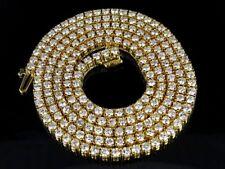 "10K Yellow Gold Genuine Diamond One Row Tennis Chain Necklace 13 7/10 Ct 18""-24"""