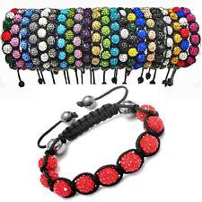 Shamballa Crystal Bracelet Adjustable 9 Disco Clay Ball Bead Bling Band Fashion