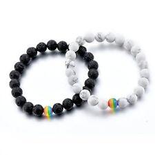Black Lava Stone Beaded Bracelet Gay LGBT Rainbow Color Pride Friendship Jewelry