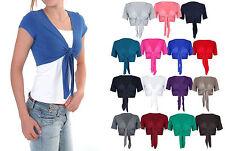 Girls Women Ladies Cap Short Sleeve Tie Up Front Crop Bolero Shrug Cardigan 8-14