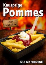 "Aufkleber / Plakat ""Knusprige Pommes"" Werbung Din A1 (84,1 x 59,4 cm) Imbiss"