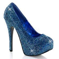 Teeze 06R Iridescent Rhinestone Platform Pump Blue Satin Shoe Size 11