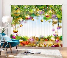 3D Noël Boule 45 Blockout Photo Rideau impression Rideaux Rideaux Tissu fenêtre UK