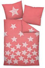 Janine 65018 Feinbiber Bettwäsche DAVOS korallenrot mit Sternen wärmend