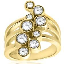 Rose Bezel Ring 14K Yellow Gold 1Ct Diamond Journey Right Hand Multi