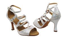 Latin Salsa Very Fine Ballroom Competitive Dance Shoe SERA7017 Silver Sparkle
