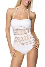 Badeanzug weiß gemustert Bademode Swimsuit Monokini elastisch Beachwear
