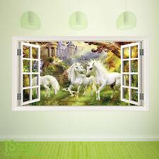 FIABE Unicorno Finestra Wall Sticker Full Colour-Ragazzi Ragazze Wall Art c388