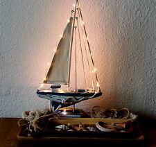 Deko Segelboot mit LED - Lichterkette 44cm Holz Textil Türkis-Weiss